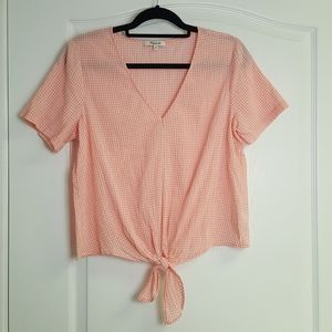 Madewell Pink Gingham Tie Front Top V Neck